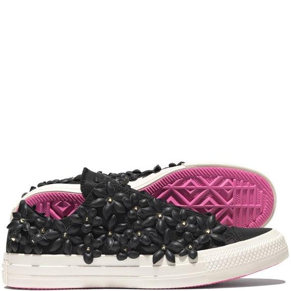 Cuir fleur Pat BO noir noir noir Converse rose Top Converse limite basse édition Floral w / cristal Swarovski Chuck Taylor All Star baskets chaussures | Online Shop  0fe098