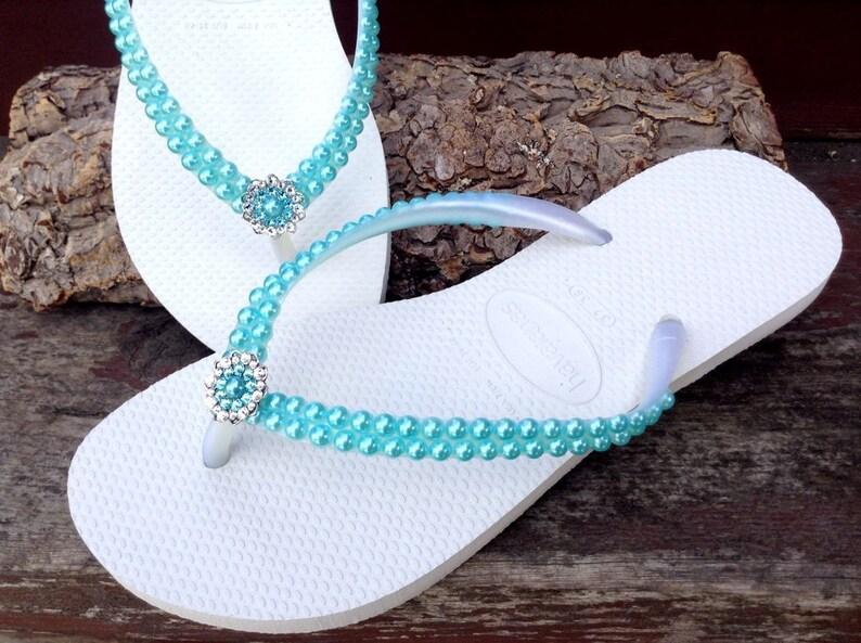 9b94b29d2b3675 Aqua Blue Pearl Havaianas Slim flat flip flops Turquoise Sky