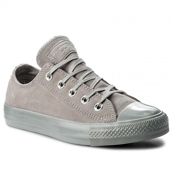 Gray Converse Dolphin Grey Suede Leather Low Top Chuck Taylor w/ Swarovski Crystal Bling Rhinestone Jewels Wedding All Star Sneaker Shoes