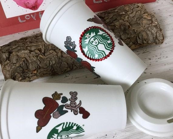 Starbucks Swag Valentines Love Heart Collector Cup w/ Swarovski Crystal reuse 16 Grande Travel Coffee Tea Tumbler mug drink Rhinestone Gift