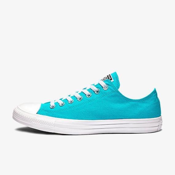 312afe77607fa3 Aqua Blue Turquoise Converse Low Stonewash Silver Custom w