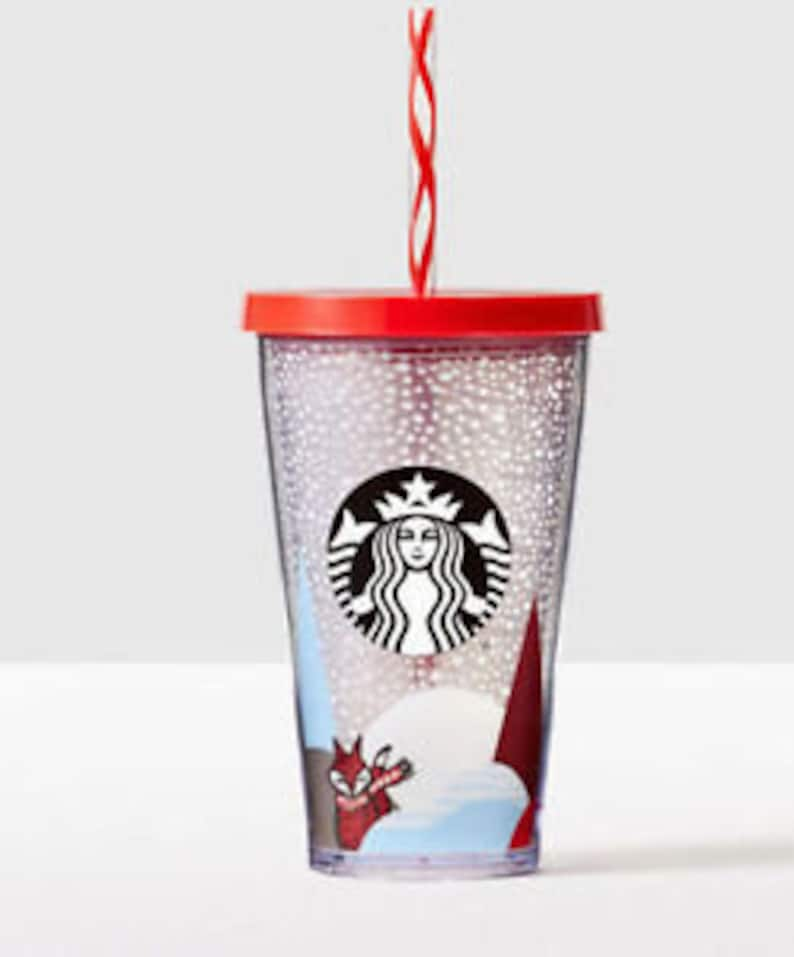 8a5e32df64f Grande Starbucks Cold Drink Cup Smoothie Red Fox Snow Collector mug Custom  w/ Swarovski Crystal 16 Acrylic Travel Tumbler Snowflake Gift