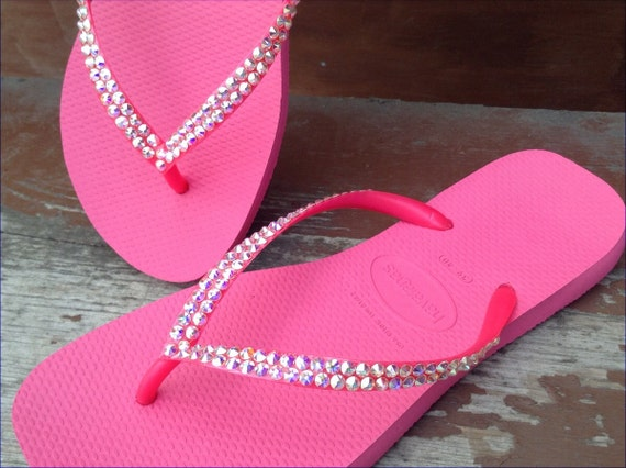 9d3483ab5e9bfb ... Custom Hot Pink Havaianas Slim flat Flip Flops Rose Fuchsia Etsy  thoughts on 32a90 2f86c ...