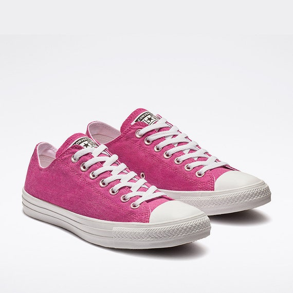 Fuchsia Converse Hot Pink Low Top Stonewash Silber Custom w