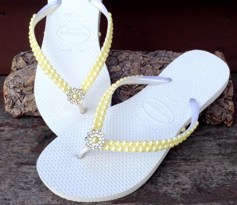 a88b63d6300360 Yellow Pearl Flip Flops Custom Havaianas Slim White Butter