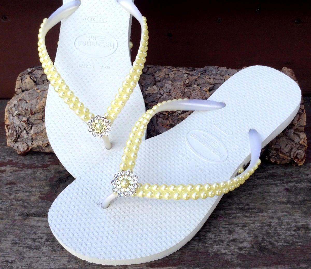 37da3b4c6b3 Yellow Pearl Flip Flops Custom Havaianas Slim White Butter Cream Daffodil w   Swarovski Crystal Filigree Bridal Bridemaid Beach Wedding Shoes