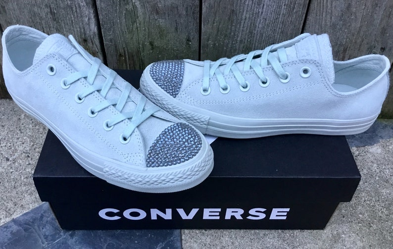beb6170147e1 Silver Light Gray Converse Low Top Suede Mono Wedding Leather