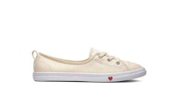 White Converse Love Heart Ivory Cream Slip on Ballet Lace Wedding Bridal w Swarovski Crystal Chuck Taylor Rhinestone All Star Sneakers Shoe