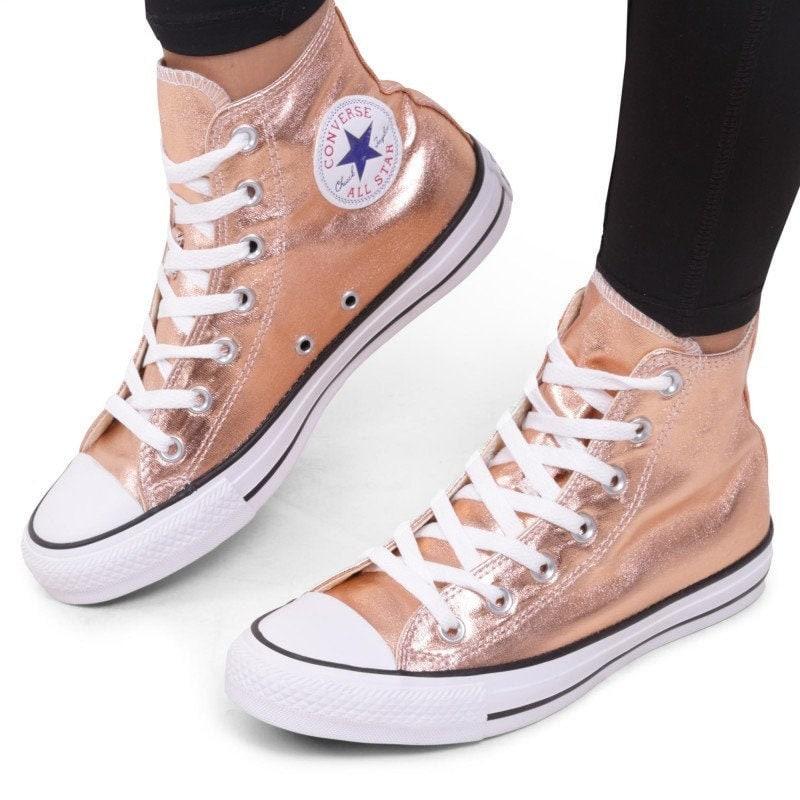 Rose Gold Converse Copper High Top Blush Metallic w/ Swarovski Crystal Chuck Taylor Rhinestone Bling All Star Sposa Wedding Sneakers Scarpe