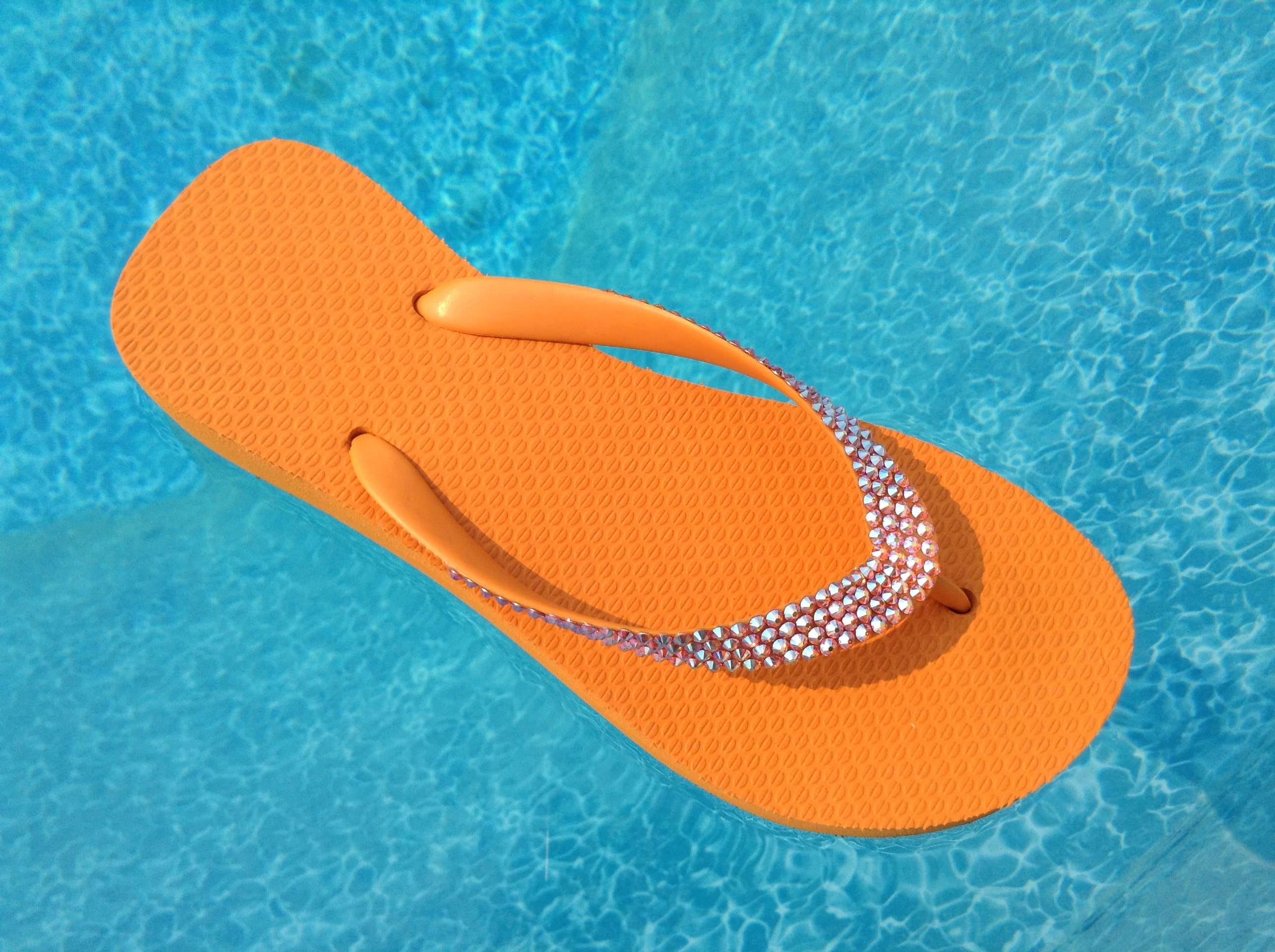 Orange Wedge flip flops custom w  Swarovski Crystal Sun AB iridescent  sandals Rhinestone Jewel Cariris Brazilian 1.5 Heel bling Thong Shoes
