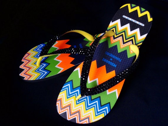 Custom Flip Flops W US 7/8 Missoni Havaianas Wave Zig Zag Collector Rare  w/ Swarovski Crystal Rhinestone Jewels Black Sandals Thongs Shoes