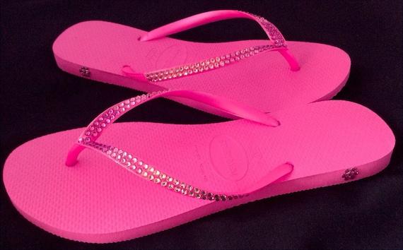 Hot Pink Flip Flops Ombré Crystal Havaianas Slim Fuchsia Rose Wedding w/ Swarovski Rhinestones Bling Jewels Beach Wedding Bridal flat Shoes