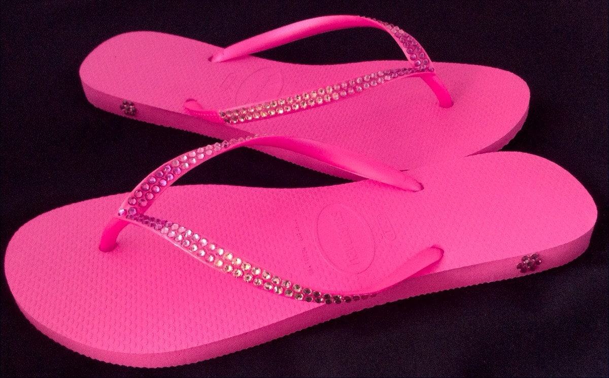 9569c06c8 Hot Pink Flip Flops Ombré Crystal Havaianas Slim Fuchsia Rose Wedding w   Swarovski Rhinestones Bling Jewels Beach Wedding Bridal flat Shoes