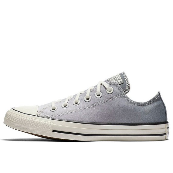 Silver Gray Converse Low Ombre wash Canvas Custom Kicks w/ Swarovski Crystal Chuck Taylor Rhinestone All Star Wedding Sneakers Bridal Shoes