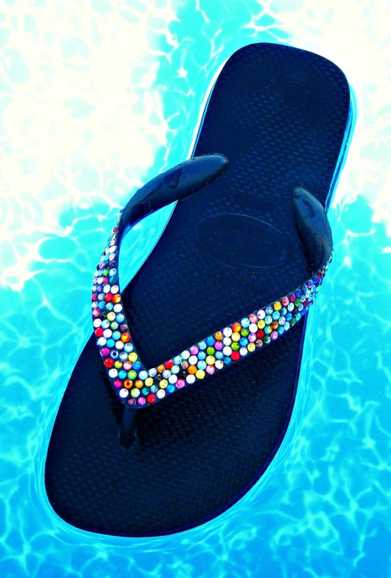 27654f154a8cb Rainbow Crystal Flip Flop w  Swarovski Jewels Custom Havaianas or Cariris  Wedge Beach Wedding Shoes Multi Color Confetti Rhinestone Gift