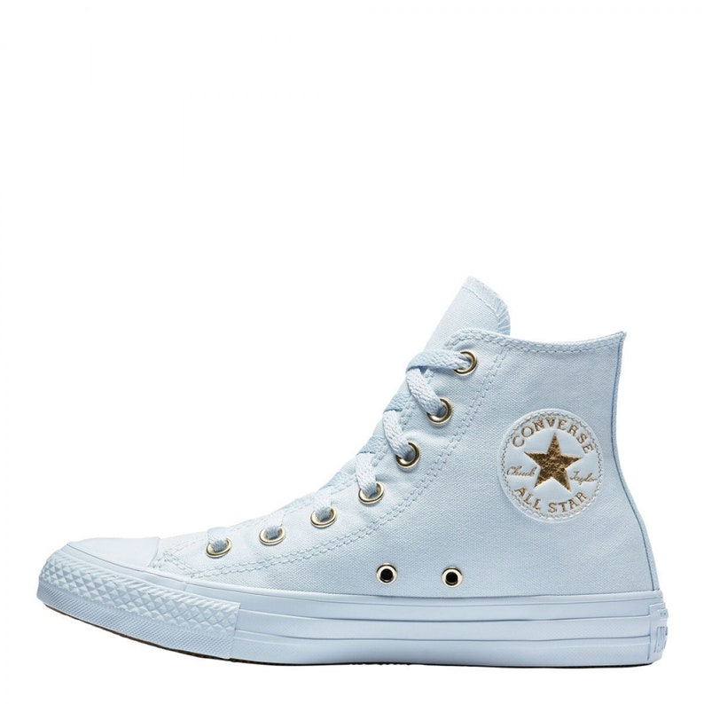 822f47780b0bc4 Baby Blue Converse High Top Custom Gold accent Sky w