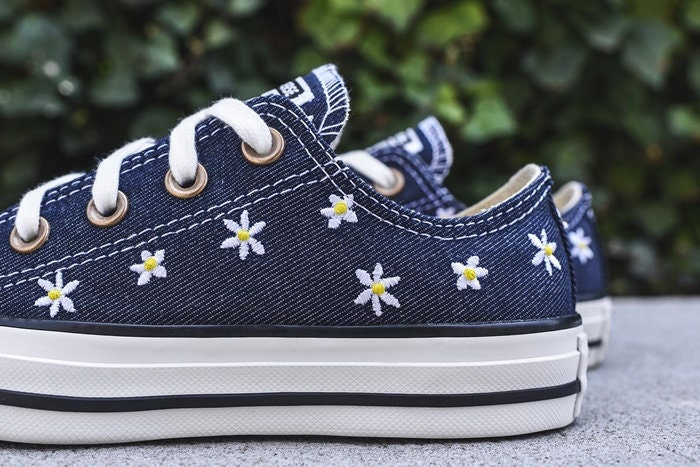 Navy Blue Converse Jean Denim Custom Wedding Daisy Floral Low Top w   Swarovski Crystal Rhinestone Bling Chuck Taylor All Star Sneakers Shoes 8c622120c5c7