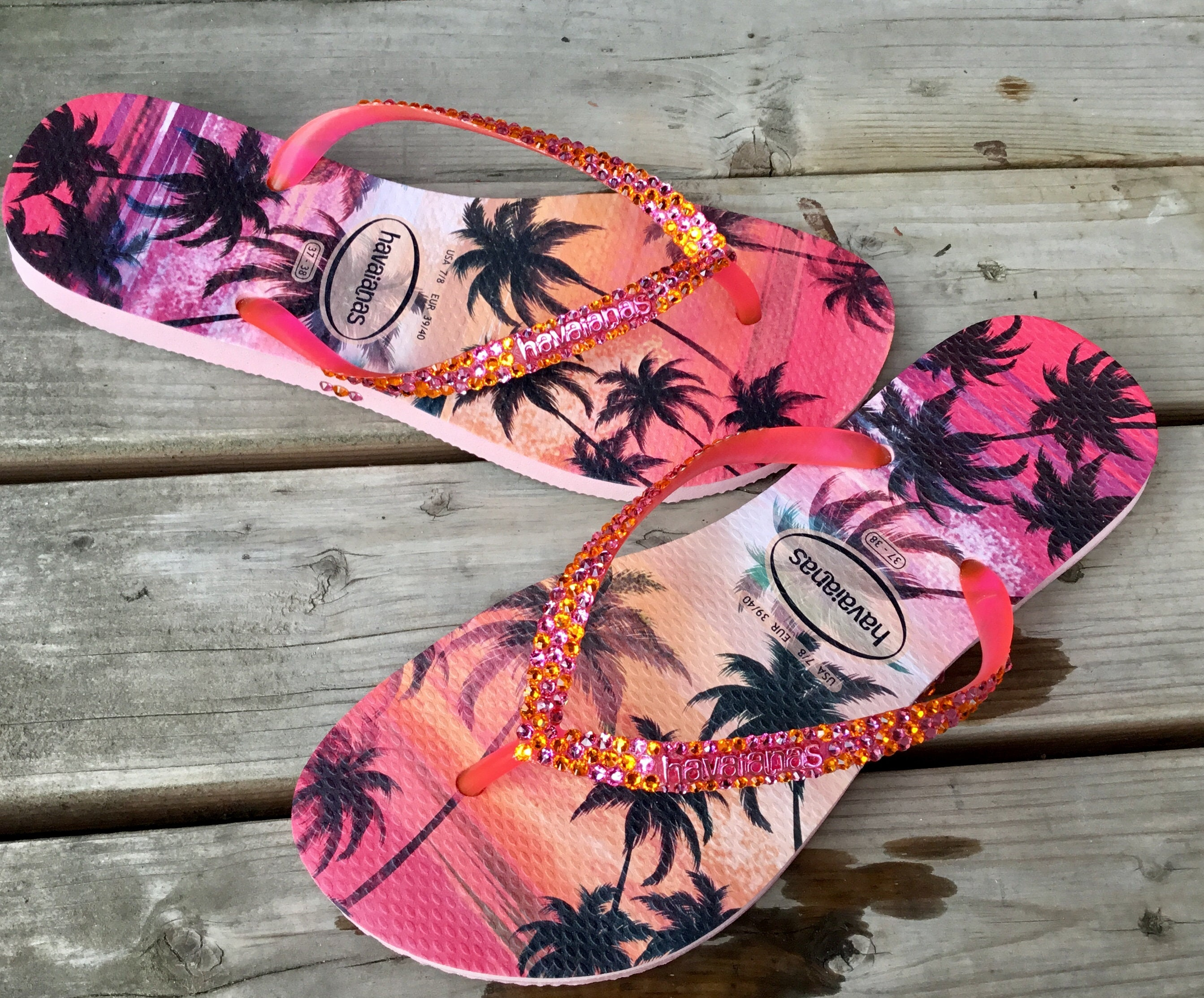 19436e54b0d5 Pink Sun Sunset Havaianas Slim flat Ladies Flip Flops Hawaiian Tropic Palm  Tree w  Swarovski Rhinestone Jewel Beach Vacation Slip on Shoes