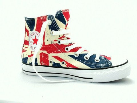 1571a28d8b7b Converse Union Jack High Top Ladies Men Chili Pepper UK Flag British English  w  Swarovski Crystal Chuck Taylor All Star Sneaker Trainer Shoe