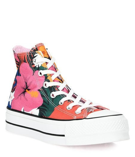 e09a546e9a69 Floral Converse Paradise Flower Platform High Top Rainbow Canvas w   Swarovski Crystal Rhinestone Chuck Taylor All Star Bling Sneakers Shoes