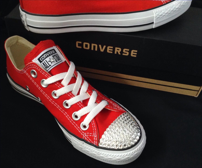 4264f63474fc Red Converse Low Tops Cherry Canvas Custom Kicks w  Swarovski Crystal Bling  Rhinestone Jewels Chuck Taylor All Star Wedding Sneakers Shoes