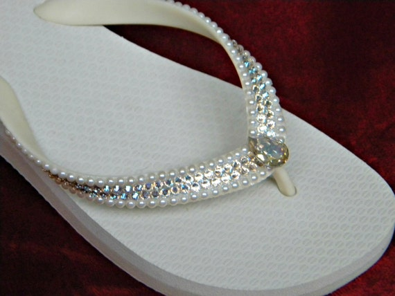 Custom Flip Flop Crystal Pearl Wedding Shoes w/ Swarovski Ivory Moonlight River Beach Bridal Bling Havaianas flat or Cariris Wedge Heel Shoe