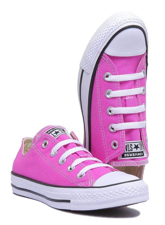 1209b3a20527 Pink Converse Magenta Low Top Bright Rose w  Swarovski Crystal Rhinestone  Jewel Bridal Wedding Chuck Taylor All Star Trainers Sneakers Shoes