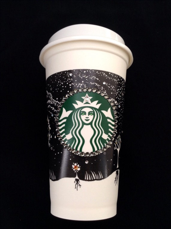 Starbucks Swag Collector Cup Fall w/ Swarovski Crystal reuseable 16oz Grande Eco Travel Coffee Tea Tumbler mug drink Rhinestone Bling Gift