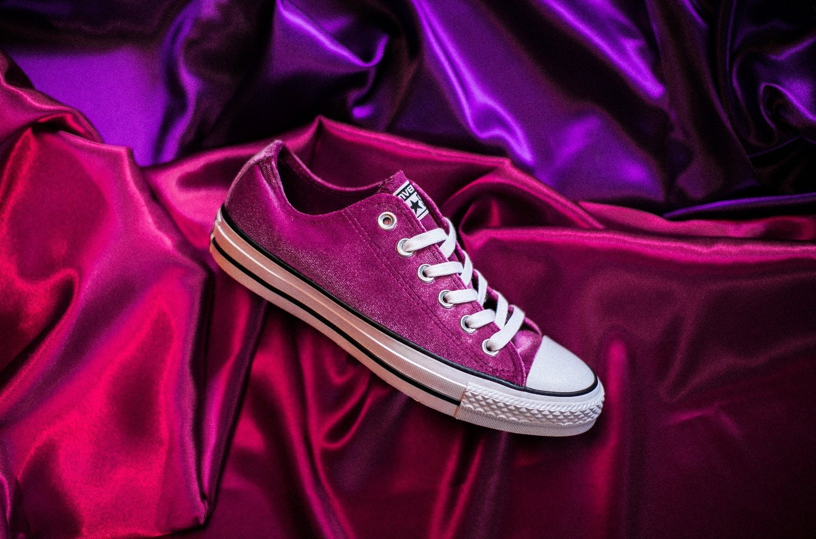 1a538bbe41c Hot Pink Converse Low Top Fuchsia Wedding Velvet w/ Swarovski ...