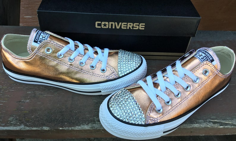 Rose Gold Converse Low Top Blush Pink Copper Metallic w   5402c4032885