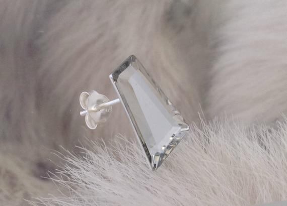 Vintage Silver Crystal Earrings Keystone 15x11mm Hypo Titanium long Swarovski Comet Argent Mirror Rhinestone Post Minimalist Stud Jewelry