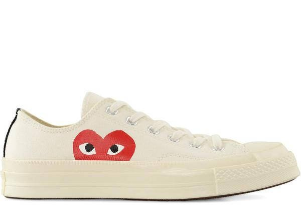 ... thoughts on a61fb 6c793 Ivory White Converse comme des garcons Play Low  Top Lady Mens w ... 9f133d2db