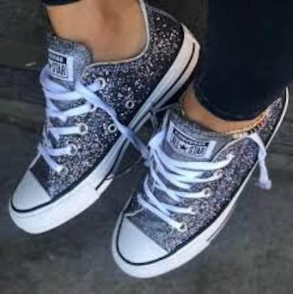 Sparkle Silver Converse Black Glitter LowTop Gray Metallic Chuck Taylor Custom w/ Swarovski Crystal Rhinestone Bling All Star Sneakers Shoes