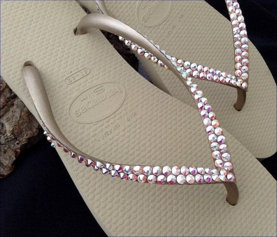 Tan Gold Havaianas Slim Flip Flops Flat Beige Ivory Gray Golden Metallic w/ Swarovski Crystal AB Rhinestone Bride Summer Beach Wedding Shoes