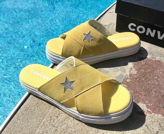 Butter Yellow Converse White One Star Slide slip on Beach Flip Flops Slippers Custom Crystal w/ Swarovski Wedding Vacation Reception Shoes