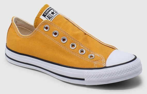 Yellow Converse Gold Sunflower Slip on Spring Laceless w/ Swarovski Crystal Rhinestone Wedding Reception Chuck Taylor Bride Sneakers Shoes
