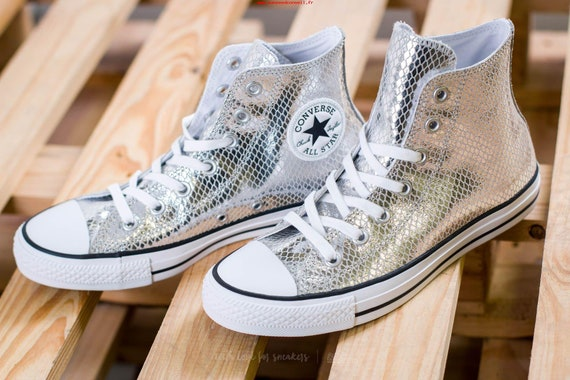 Silver Converse High Tops Gray Snake Custom Grey w/ Swarovski Crystal rhinestone Bride Chuck Taylor All Star Bridal Wedding Sneakers Shoes