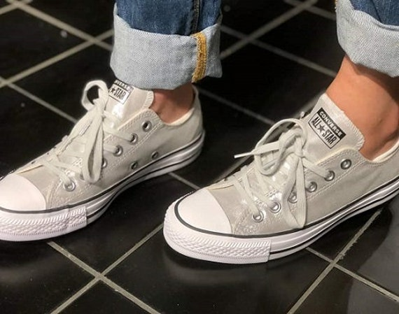 Silver Converse Pale Gray Twilight Glitter Grey Low Custom Bride Sneakers Wedding w/ Swarovski Crystal Rhinestone Jewel Bridal Kicks Shoes