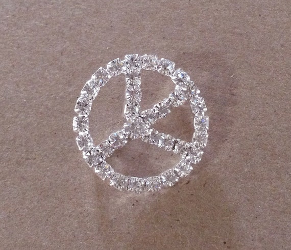 "Peace Sign jewel Crystal Clear Large 1"" Rhinestone Silver Tone napkin ring belt buckle slider Brooch Embellishment Button Bead Spacer Jewels"