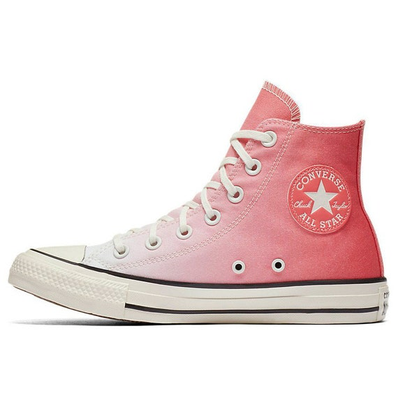 Coral Converse High Ombre wash Pink Canvas Custom Kicks w/ Swarovski Crystal Chuck Taylor Rhinestone All Star Wedding Sneakers Bridal Shoes