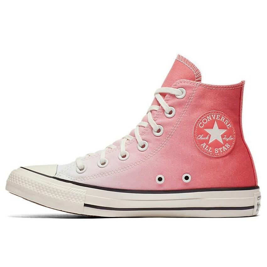 Coral Converse High Ombre wash Pink Canvas Custom Kicks w Swarovski Crystal Chuck Taylor Rhinestone All Star Wedding Sneakers Bridal Shoes