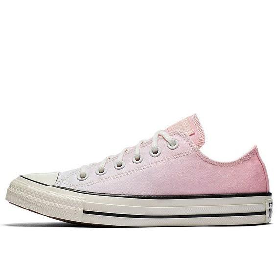 Pink Converse Low Ombre wash Blush Canvas Custom Kicks w/ Swarovski Crystal Chuck Taylor Rhinestone All Star Wedding Sneakers Bridal Shoes