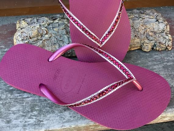 Cranberry Pink Crystal Havaianas Slim Flip Flops Beet Ruby Red Raspberry w/ Swarovski Rhinestone Jewel Beach Bride Wedding Bling Custom Shoe