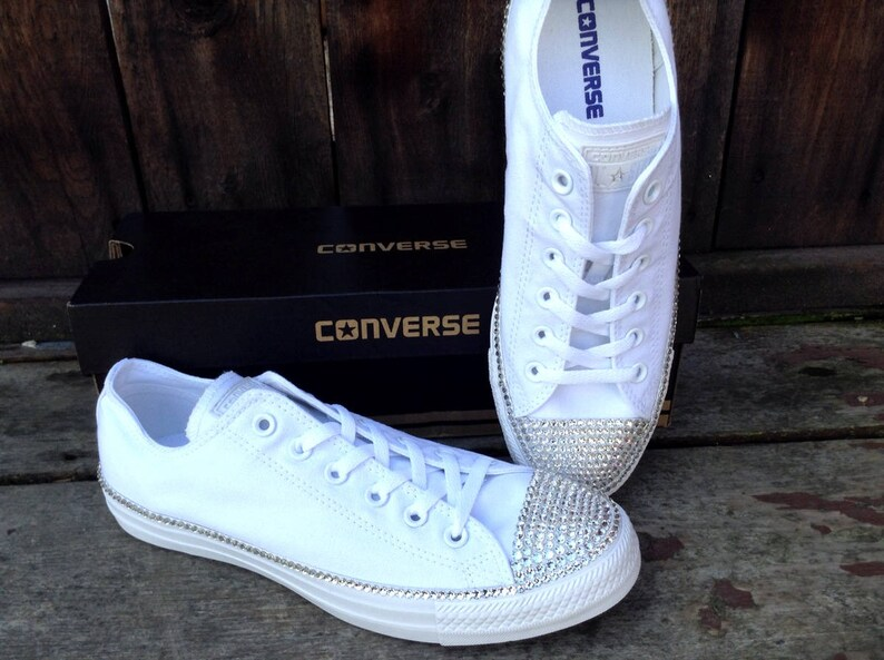 e754ca357aab White Wedding Converse Canvas Low Top Bling Crystal Bridal