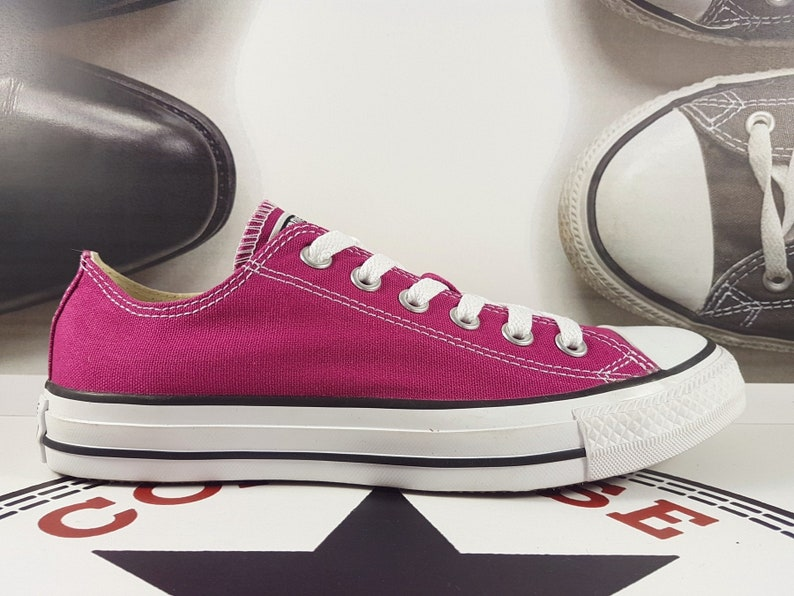 d5d9faaa915 Pink Converse Low Sapphire Orchid Cranberry Fuchsia Magenta w/ Swarovski  Crystal Wedding Chuck Taylor All Star Bling Bridal Sneakers Shoes