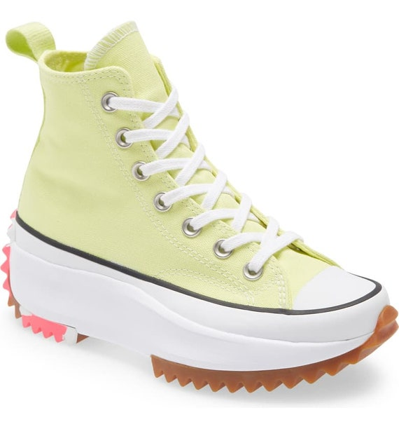 Converse Run Star Hike Yellow Light Cream Zitron Hi Boots Platform High Kicks w/ Swarovski Crystal Rhinestone Chucks All Star Sneakers Shoes