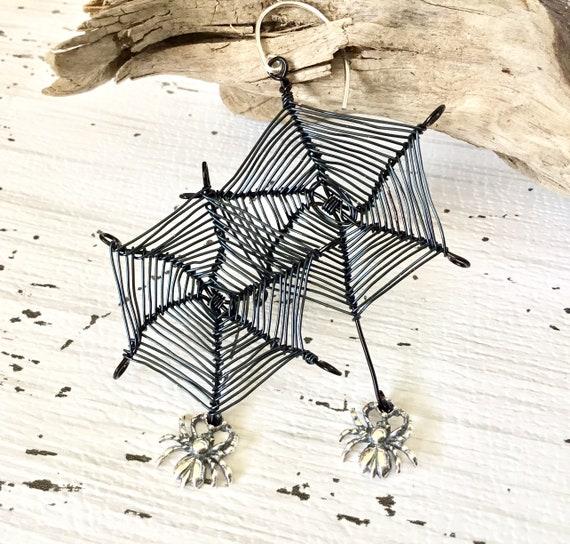 Itsy Spider Web Wire Earring Creepy Bug Black Sterling Silver Charm Drop Dangle Ear Hypoallergenic Titanium Trick Treat Costume Cosplay Gift