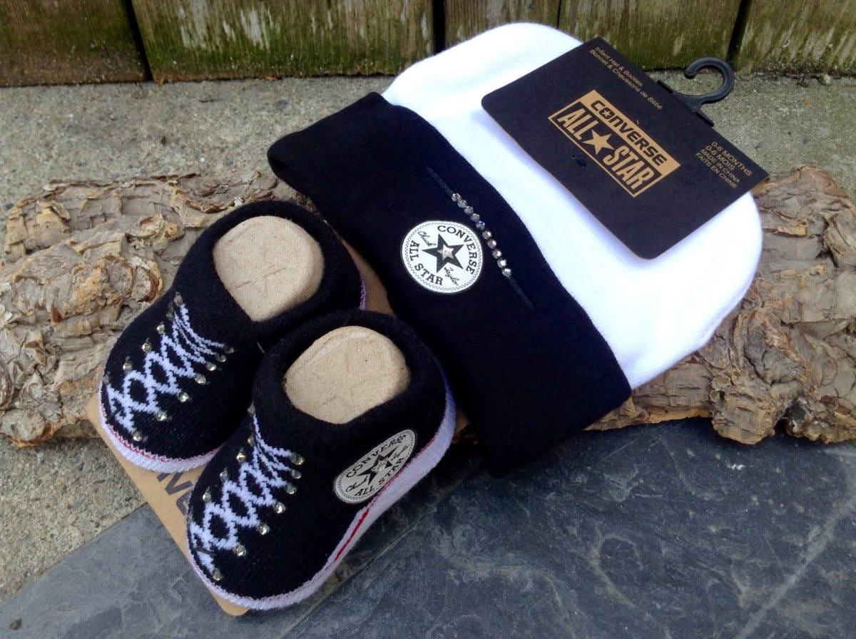 Baby Converse Shower Gift Infant Girl Boy Black White Newborn New Mom  Bootie Beanie Cap w Swarovski Crystal Bling Knit Crib Christening Shoe 7002499b7