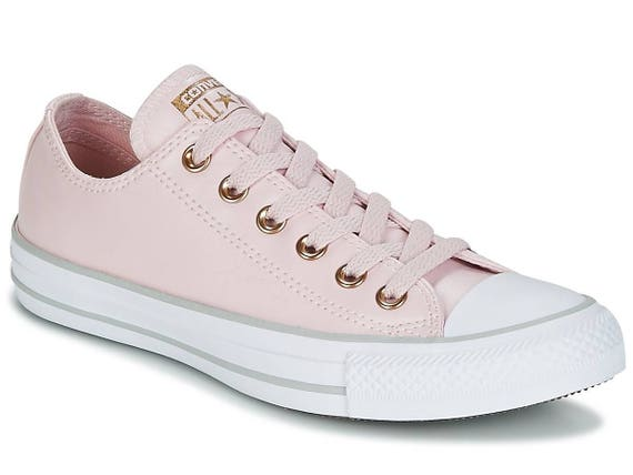 Baby Pink Converse leather W US 8 Blush Silver Rose Gold Low Custom Bridal Wedding w/ Swarovski Crystal Chuck Taylor All Star Sneakers Shoes