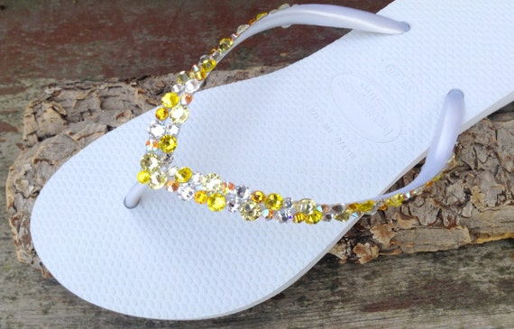 White Yellow Havaianas Slim Flip Flops Custom w/ Swarovski Crystal Rhinestone Beach Sea Glass Slipper Wedding sandal Bling Jewel Bridal shoe